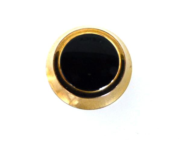 Black Glass Gold Rim Small button (no.00766)
