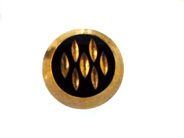 Set of 6 Gold Lustered Black Glass buttons
