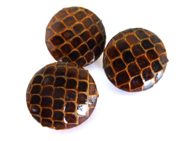 3 x Brown Snakeskin buttons Set