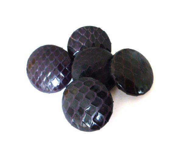Set of 5 Dark Purple Snakeskin buttons