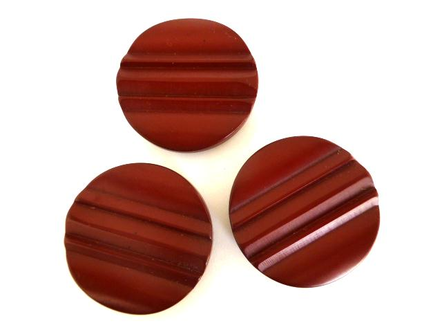 Set of 3 Extra Large Maroon Ridged Buttons