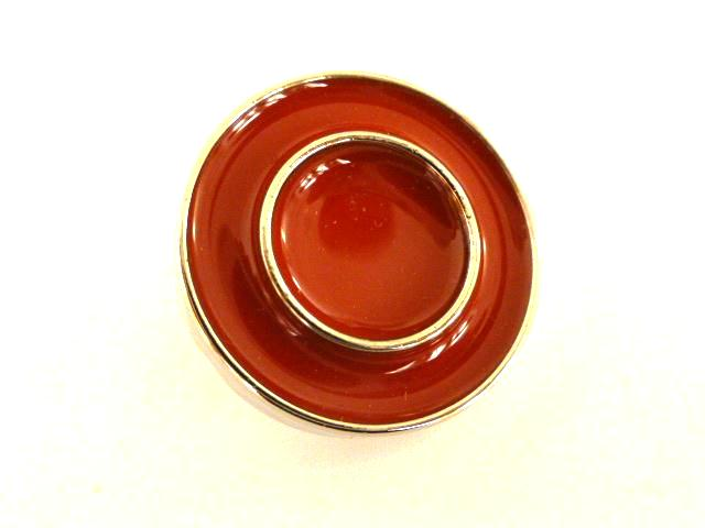 Set of 6 Large Coral Enamel Silver Trim buttons