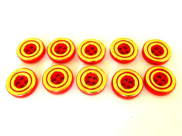 Set of 10 Red and Double Gold Ring buttons