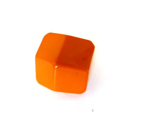 Orange Facet Square Dome Small button (no. 00884)