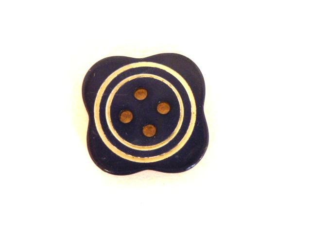Art Deco Small Navy Blue Stripe button (no.0913)