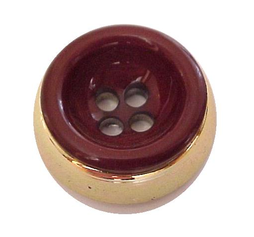 Maroon and Gold High Rim button (No.00192)