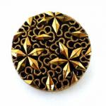 Gold and Black Glass Large Button (Set of 4)