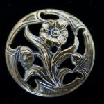 Art Nouveau Brass Flower button