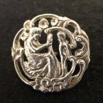 Antique Silver Plated Lady and Cherub button
