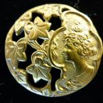 Art Nouveau Lady Head Brass button