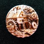 'Old Water Mill' Milk Glass button