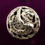 Large Sterling Silver Winged Griffin button Birmingham 1900