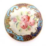 Large Enamel Floral Roses Button