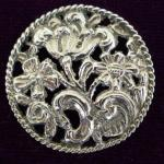 Large Sterling Silver Dutch Floral Button London 1904