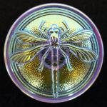 Dragonfly Large Petrol Lustre Glass button