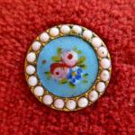 Turquoise Floral Enamel with Encrusted Border button