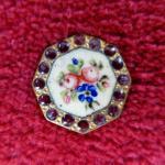 Floral Enamel Hexagonal Garnet framed button