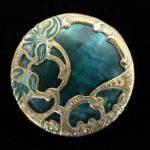 Art Nouveau Green Mother-of-Pearl large button