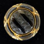 Late Victorian Black and Gilt Glass Celluloid Button