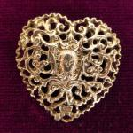 Antique Sterling Silver Heart Button Birmingham 1900 Makers L & S