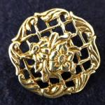 Sterling Silver Open Floral Lattice-work Button Birmingham 1900
