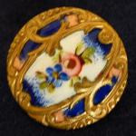 Deep Blue and Pink Floral Enamel button