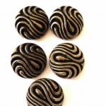 Set of 5 Silver Lustred Black Op Art buttons