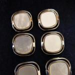 Set of 6 Mother-of-Pearl Silver Framed buttons