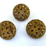 Set of 3 Antique Brass Openwork buttons