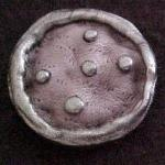 Grey Leather Vintage Plastic Paris button (No.00279)
