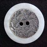 Bamboo Silver and White rim button (No. 00178)