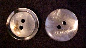 Grey Mother of Pearl plastic button (No.00148)